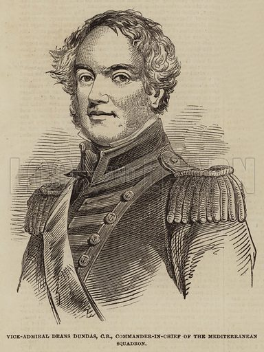 Vice-Admiral Deans Dundas, CB, Commander-in-Chief of the Mediterranean Squadron. Illustration for The Illustrated London News, 20 August 1853.