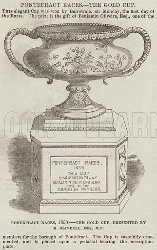Pontefract Races, 1853, the Gold Cup, presented by B Oliveira, Esquire, MP. Illustration for The Illustrated London News, 24 September 1853.