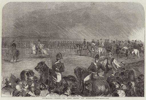 Imperial Visit to the Camp at Helfaut. Illustration for The Illustrated London News, 15 October 1853.