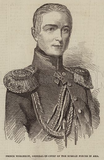 Prince Woronzow, General-in-Chief of the Russian Forces in Asia. Illustration for The Illustrated London News, 17 December 1853.