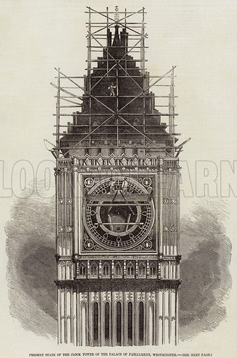 Present State of the Clock Tower of the Palace of Parliament, Westminster