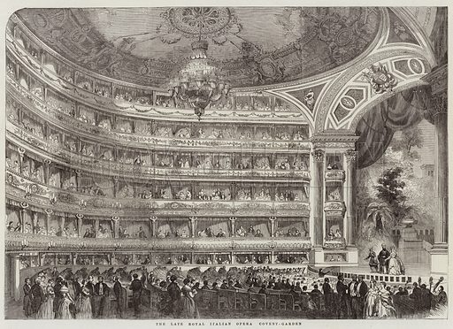 The Late Royal Italian Opera, Covent-Garden. Illustration for The Illustrated London News, 6 December 1856.
