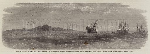 "Wreck of the Royal Mail Steam-Ship ""Paramatta"" on the Horseshoe Reef, near Anagado, one of the West India Islands. Illustration for The Illustrated London News, 30 July 1859."
