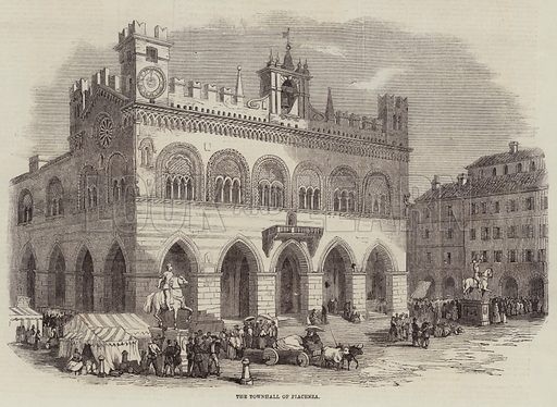 The Townhall of Piacenza. Illustration for The Illustrated London News, 12 November 1859.