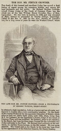 The Late Honourable Mr Justice Crowder. Illustration for The Illustrated London News, 17 December 1859.