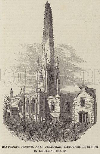 Caythorpe Church, near Grantham, Lincolnshire, struck by Lightning 30 December. Illustration for The Illustrated London News, 14 January 1860.
