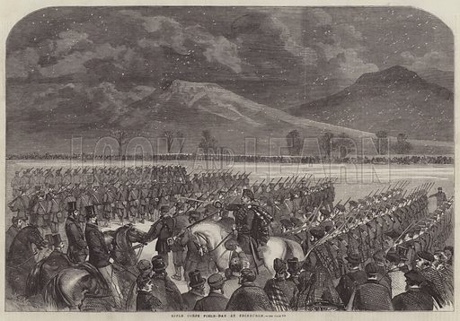 Rifle Corps Field-Day at Edinburgh. Illustration for The Illustrated London News, 3 March 1860.