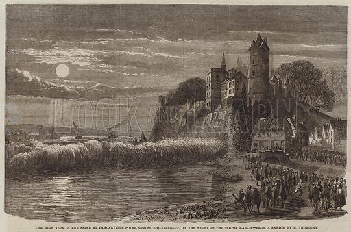 The High Tide in the Seine at Tancarville Point, opposite Quillebeuf, on the Night of the 9 March. Illustration for The Illustrated London News, 24 March 1860.