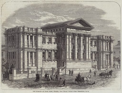 The Museum in Hyde Park, Sydney, New South Wales. Illustration for The Illustrated London News, 17 March 1866.