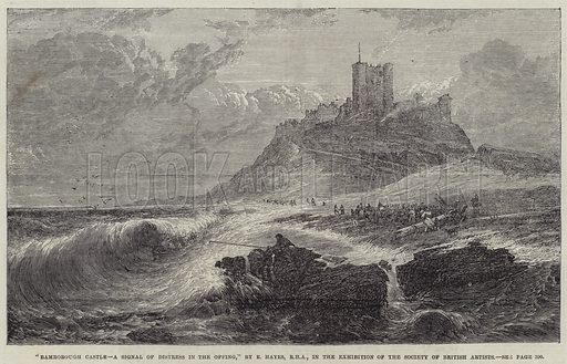 Bamborough Castle, a Signal of Distress in the Offing. Illustration for The Illustrated London News, 21 April 1866.