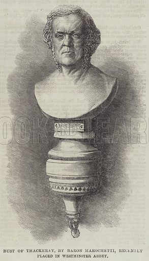 Bust of Thackeray, by Baron Marochetti, recently placed in Westminster Abbey. Illustration for The Illustrated London News, 21 April 1866.