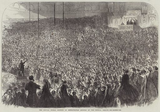 The Annual Choral Meeting of Metropolitan Schools at the Crystal Palace. Illustration for The Illustrated London News, 12 May 1866.