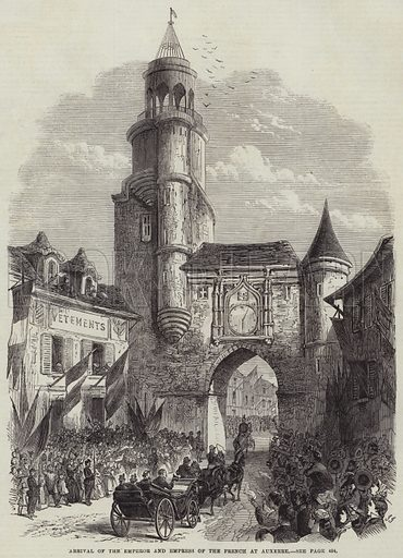 Arrival of the Emperor and Empress of the French at Auxerre. Illustration for The Illustrated London News, 19 May 1866.