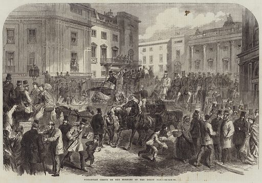 Piccadilly Circus on the Morning of the Derby Day. Illustration for The Illustrated London News, 26 May 1866.