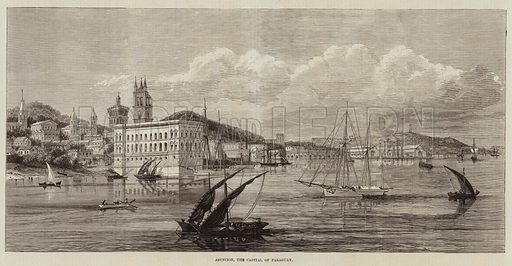 Asuncion, the Capital of Paraguay. Illustration for The Illustrated London News, 12 February 1870.
