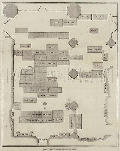 Plan of Poet's Corner, Westminster Abbey. Illustration for The Illustrated London News, 25 June 1870.