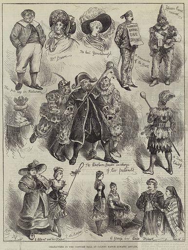 Characters in the Costume Ball at Colney Hatch Lunatic Asylum. Illustration for The Illustrated London News, 29 November 1879.