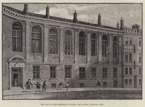 The Hall of the Merchant Taylors' Old School, Suffolk Lane. Illustration for The Illustrated London News, 28 September 1895.