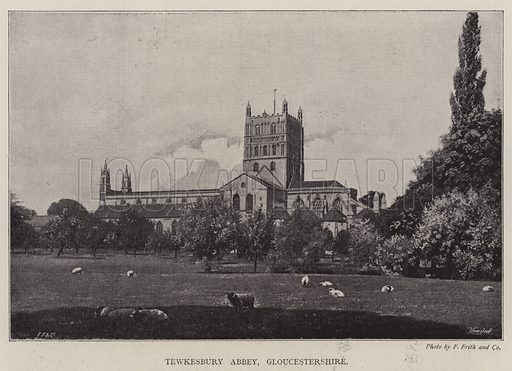 Tewkesbury Abbey, Gloucestershire. Illustration for The Illustrated London News, 19 October 1895.