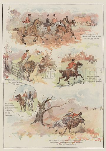 Hunting Romance. Illustration for The Illustrated London News, Christmas Number 1895.