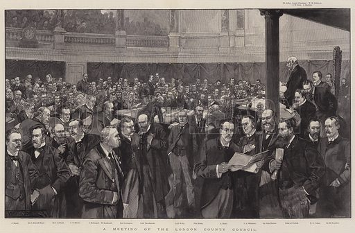 A Meeting of the London County Council. Illustration for The Illustrated London News, 10 August 1895.