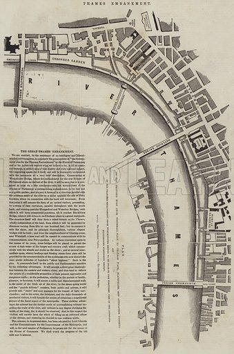 The Great Thames Embankment. Illustration for The Illustrated London News, 30 December 1843.