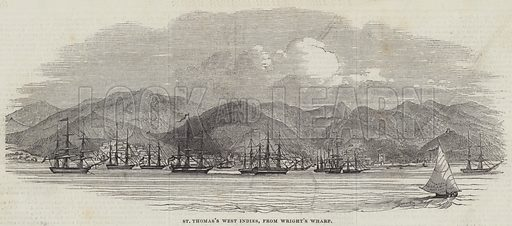 St Thomas's West Indies, from Wright's Wharf. Illustration for The Illustrated London News, 18 May 1844.