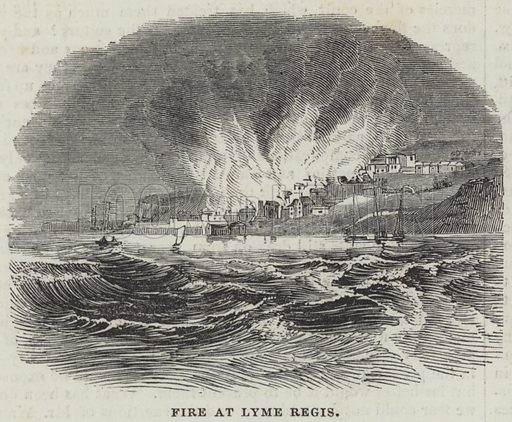 Fire at Lyme Regis. Illustration for The Illustrated London News, 18 May 1844.