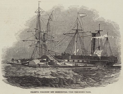 Fearful Collision off Greenhithe. Illustration for The Illustrated London News, 20 December 1845.