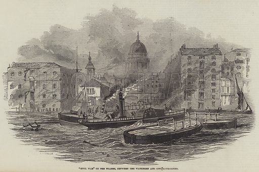 """""""Civil War"""" on the Thames, between the Watermen and City Authorities. Illustration for The Illustrated London News, 31 January 1846."""