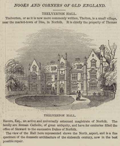 Thelverton Hall. Illustration for The Illustrated London News, 7 February 1846.
