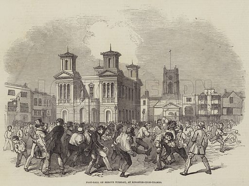 Foot-Ball on Shrove Tuesday, at Kingston-upon-Thames. Illustration for The Illustrated London News, 28 February 1846.