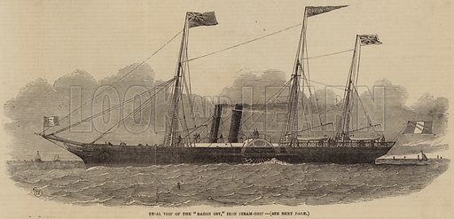"""Trial Trip of the """"Baron Osy,"""" Iron Steam-Ship. Illustration for The Illustrated London News, 5 July 1851."""