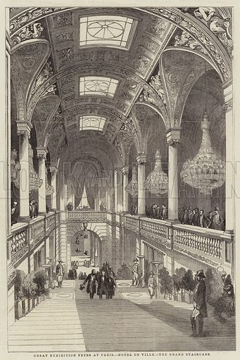 Great Exhibition Fetes at Paris, Hotel de Ville, the Grand Staircase. Illustration for The Illustrated London News, 16 August 1851.
