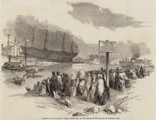"Launch of the ""Glasgow"" Screw Steam-Ship, at the Mouth of the Kelvin, on Saturday Last. Illustration for The Illustrated London News, 23 August 1851."