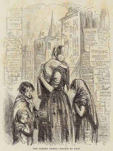 The Street Carol. Illustration for The Illustrated London News, 20 December 1851.