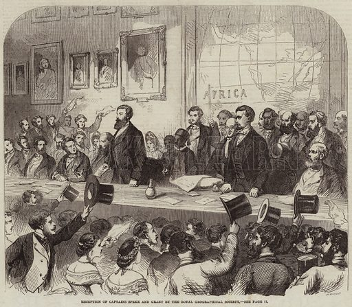 Reception of Captains Speke and Grant by the Royal Geographical Society. Illustration for The Illustrated London News, 4 July 1863.