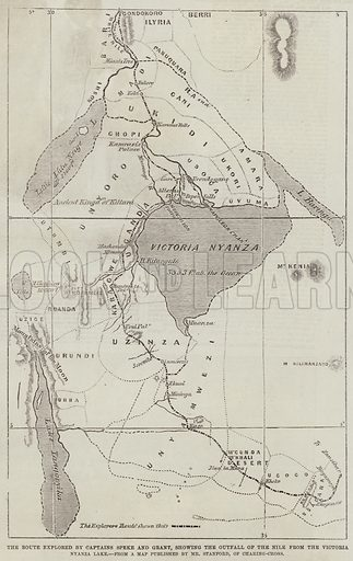 The Route explored by Captains Speke and Grant, showing the Outfall of the Nile from the Victoria Nyanza Lake. Illustration for The Illustrated London News, 4 July 1863.