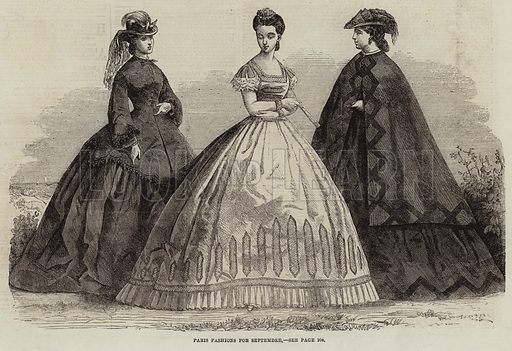 Paris Fashions for September. Illustration for The Illustrated London News, 29 August 1863.