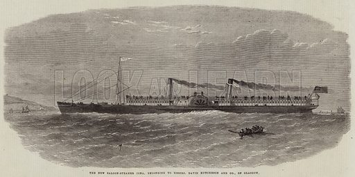 The New Saloon-Steamer Iona, belonging to Messers David Hutcheson and Company, of Glasgow. Illustration for The Illustrated London News, 12 September 1863.