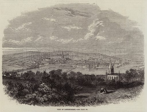 View of Londonderry. Illustration for The Illustrated London News, 10 October 1863.