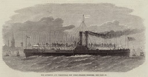 The Liverpool and Birkenhead New Ferry-Steamer, Cheshire. Illustration for The Illustrated London News, 31 October 1863.