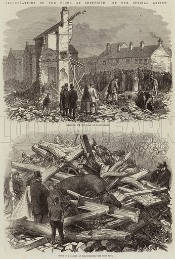 Illustrations of the Flood at Sheffield. Illustration for The Illustrated London News, 2 April 1864.