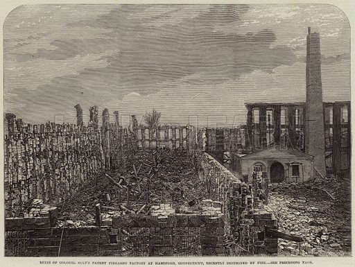 Ruins of Colonel Colt's Patent Firearms Factory at Hartford, Connecticut, recently destroyed by Fire. Illustration for The Illustrated London News, 16 April 1864.