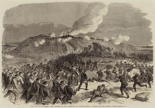 The War in Denmark, the Assault on No 4 Redoubt at Duppel. Illustration for The Illustrated London News, 30 April 1864.