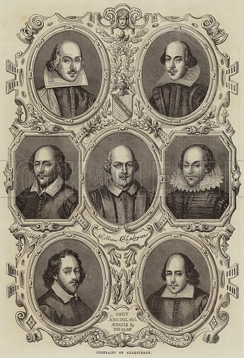 Portraits of Shakespeare. Illustration for The Illustrated London News, 30 April 1864.