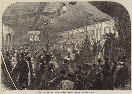 Inauguration of the Chichester Training-Ship for Boys at Blackwall. Illustration for The Illustrated London News, 29 December 1866.