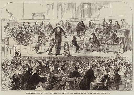 Christmas Soiree, at the Hanover-Square Rooms, of the Association in Aid of the Deaf and Dumb. Illustration for The Illustrated London News, 23 January 1869.