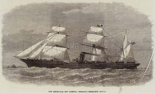 The Peninsular and Oriental Company's Steam-Ship Deccan. Illustration for The Illustrated London News, 23 January 1869.