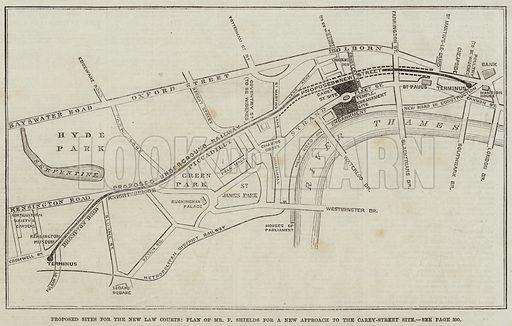 Proposed Sites for the New Law Courts, Plan of Mr F Shields for a New Approach to the Carey-Street Site. Illustration for The Illustrated London News, 17 April 1869.